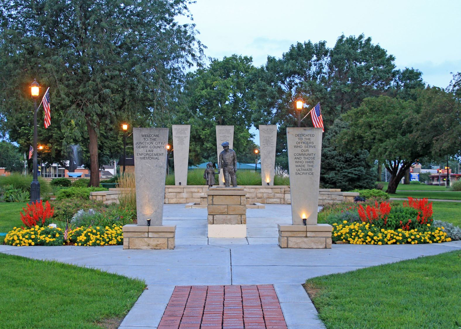 A memorial garden with sculptures